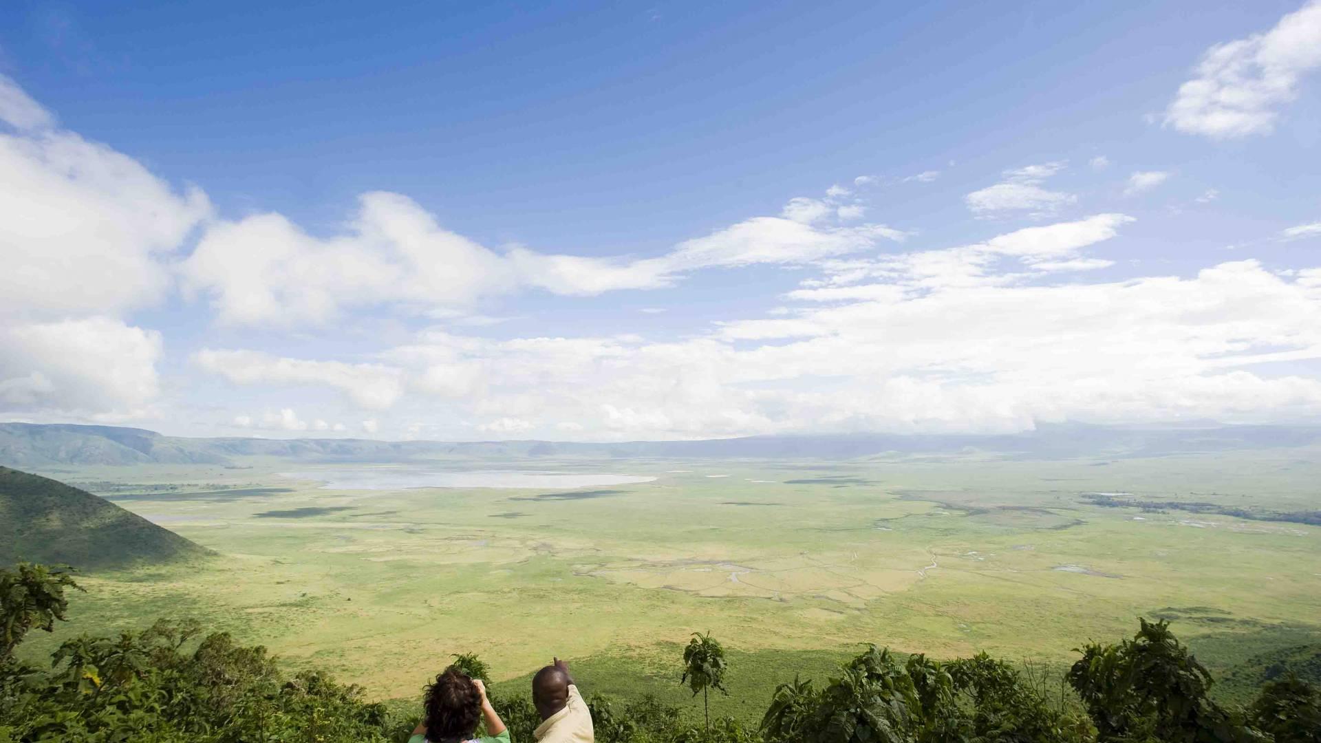 Blick vom oben ngorongoro krater tansania