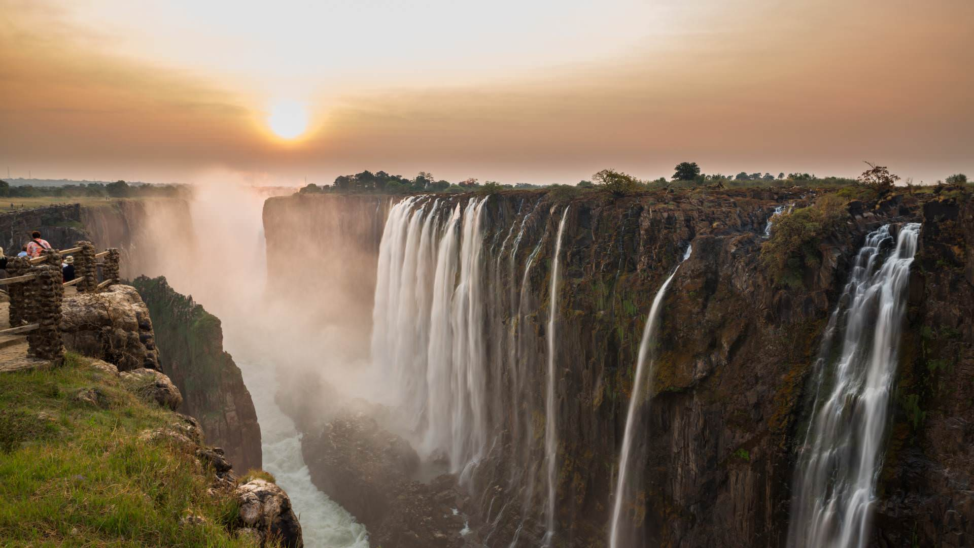 Victoria Falls sunset, View from Zambia